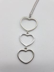 Collana Donna tre cuoricini in argento, vendita on line   GIOIELLERIA BRUNI Imperia