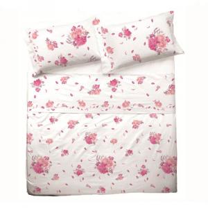 Set lenzuola per letto piazza e mezza FRANCESE puro cotone ESTER ROSA