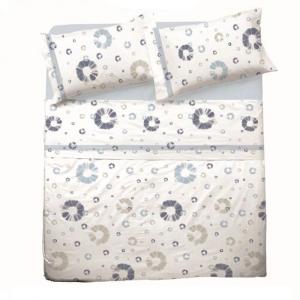 Set lenzuola per letto piazza e mezza FRANCESE puro cotone CERCHI azzurro