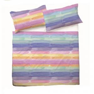 Set lenzuola matrimoniale 2 piazze in puro cotone COLORS multicolore