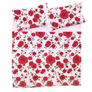 Set lenzuola matrimoniale 2 piazze MAXI in puro cotone ROSA rossa