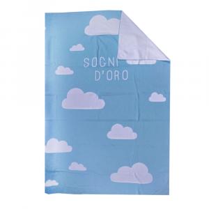 Copriletto leggero in cotone BASSETTI BALLOON nuvole neonato azzurro