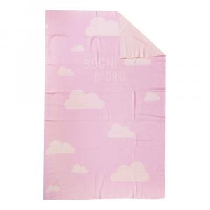 Copriletto leggero in cotone BASSETTI BALLOON nuvole neonato rosa