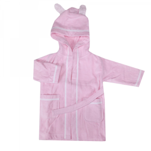 Bathrobe girl with hood in sponge BASSETTI BALLOON pink - various sizes