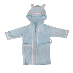 Accappatoio bambino con cappuccio in spugna BASSETTI BALLOON azzurro - varie misure