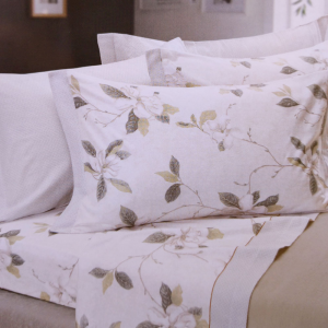 Set lenzuola invernali letto piazza e mezza caldo cotone CHAMONIX floreale verde