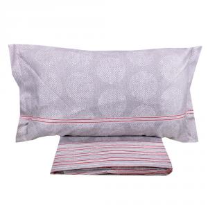 Set lenzuola invernali letto piazza e mezza caldo cotone CHAMONIX zig-zag grigio