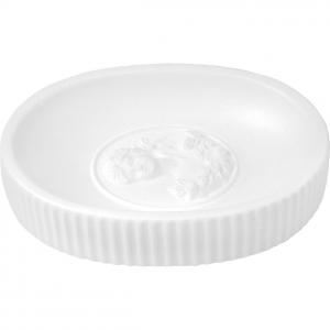 Porta sapone ovale, in ceramica bianca, Linea Marquise di Mathilde M.