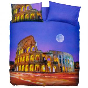 Set copripiumino piazza e mezza ROMA lilla stampa digitale