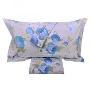FAZZINI set copripiumino Maxi matrimoniale STUARD fiori azzurri