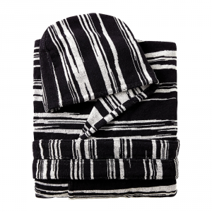 Bathrobe Missoni Home with hood black and white lines VINCENT 603