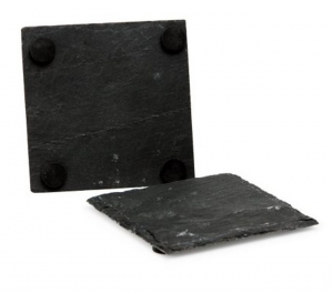 Sottobicchiere quadrato in ardesia Set 4 pezzi cm.10x10