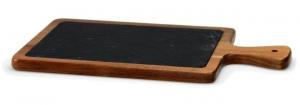 Tagliere rettangolare in legno e ardesia con manico cm.34x18x1,5h