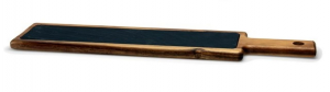 Tagliere rettangolare in legno e ardesia con manico cm.54,5x11,5x2h