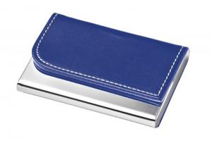 Portabiglietti metallo e pelle sintetica blu cm.9,3x6,5x1,2h