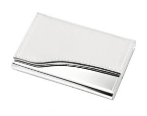 Portabiglietti metallo e simil pelle bianca