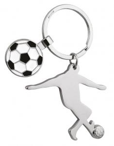 Portachiavi calciatore con gettone cm.9x5,5x0,5h