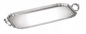 Vassoio rettangolare con manici stile Settecento 700 placcato argento