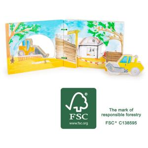 Libro illustrato interattivo per bambini in legno Cantiere
