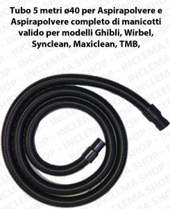 Tubo 5 metri Flessibile con manicotti ø40 per Aspirapolvere e Aspiraliquidi valido per marchi Ghibli, Wirbel, Maxiclean, Synclean, TMB