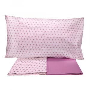 FAZZINI set lenzuola singole una piazza ANNA fiori rosa puro cotone