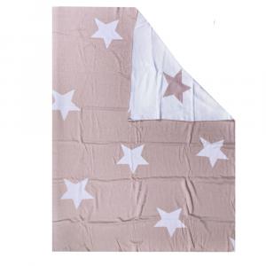 Copriletto leggero in cotone BASSETTI SOGNI D'ORO stelle neonato beige