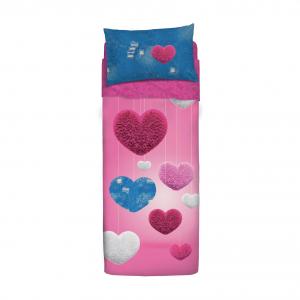 Set lenzuola letto singolo 1 piazza BASSETTI DENIM HEART effetto copriletto