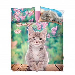 Set Copripiumino letto singolo Nice Cats Gattino sfondo fiori Bassetti 155x200