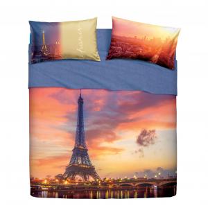 Set lenzuola letto piazza e mezza puro cotone Paris Forever BASSETTI