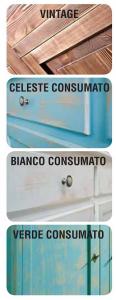 Comodino 3 cassetti laccato consumato
