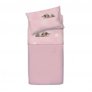 Set lenzuola per lettino con sponde BASSETTI SOGNI D'ORO rosa neonata