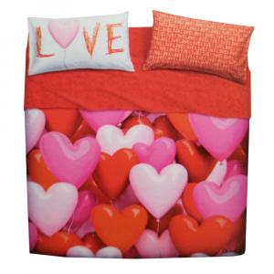 Set lenzuola letto piazza e mezza puro cotone BASSETTI Love Party cuori