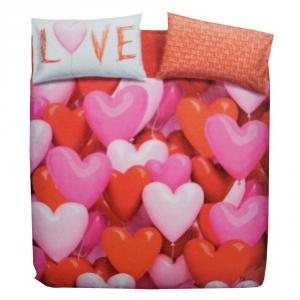 Bettbezug-Set mit Doppelbett BASSETTI Love Party-Herzen