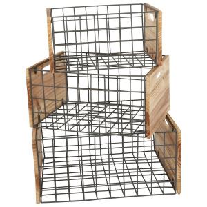 Casse di legno reticolo dal design industriale 3 pezzi
