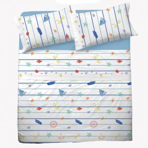 Set lenzuola per letto piazza e mezza FRANCESE puro cotone MARINARO bianco