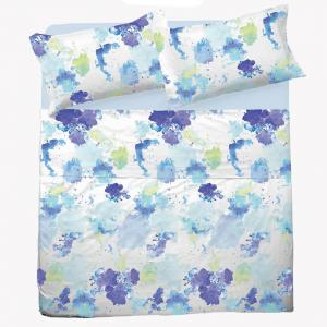Set lenzuola per letto piazza e mezza FRANCESE puro cotone SPLASH azzurro
