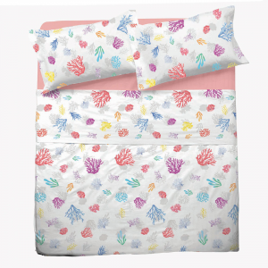 Set lenzuola matrimoniale 2 piazze in puro cotone CORALLI rosa