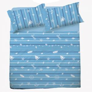 Set lenzuola matrimoniale 2 piazze in puro cotone MARINARO azzurro