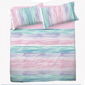 Set lenzuola matrimoniale 2 piazze in puro cotone PRISCA multicolore