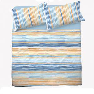 Set lenzuola matrimoniale 2 piazze in puro cotone PRISCA giallo e azzurro