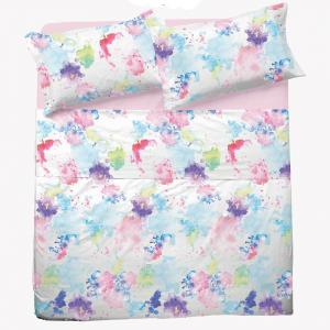 Set lenzuola matrimoniale 2 piazze in puro cotone SPLASH multicolore