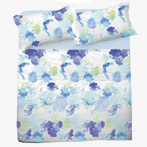 Set lenzuola matrimoniale 2 piazze in puro cotone SPLASH azzurro