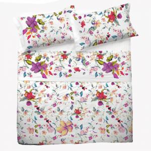 Set lenzuola matrimoniale 2 piazze in puro cotone ERICA fiori bianchi