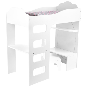 Letto per bambole a soppalco con scrivania, bianco