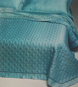 Set lenzuola matrimoniale 2 piazze Maxi Trussardi WEB ACQUA azzurro in raso