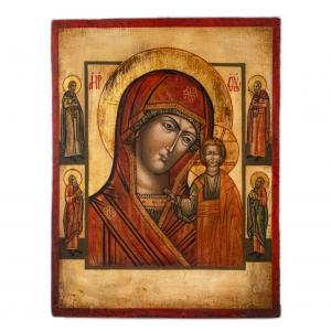 Icona Russa Dipinta a Mano Madonna di Vladimir 33,5 x 25,5 cm