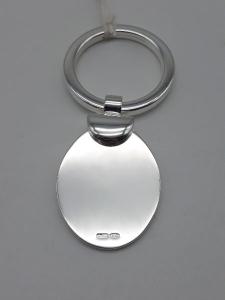 Portachiavi a piastra ovale lucida in argento 925, vendita on line | GIOIELLERIA BRUNI Imperia
