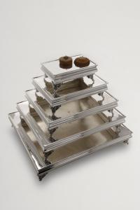 Portadolce rettangolare stile Cardinale argentato argento sheffield cm.40x30x12h
