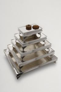 Portadolce rettangolare stile Cardinale argentato argento sheffield cm.71x60x12h