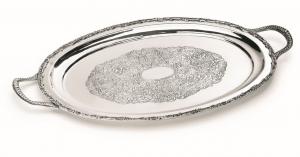 Vassoio inciso stile Regina Anna argentato argento sheffield cm.41x31